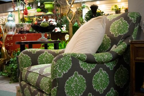 Green Patterned Accent Chair