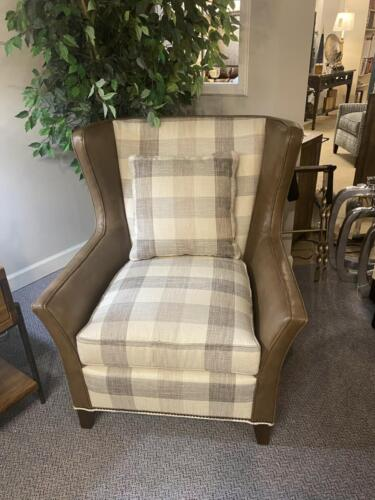 leather and plaid chair