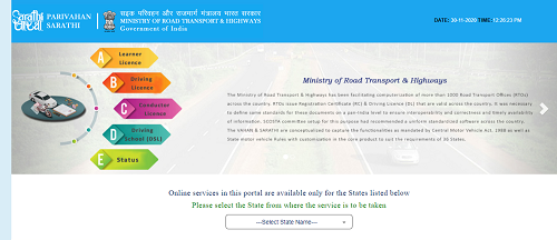 Driving Licence Online Apply