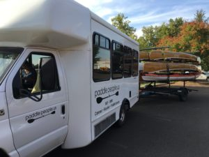 Paddle People bus with trailer of Wenonah Kevlar Canoes - www.PaddlePeople.us