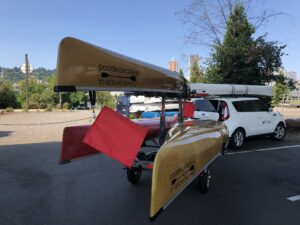 Malone MicroSport Canoe Kayak Trailer behind Kia Soul