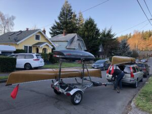 Malone MicroSport Canoe Kayak Trailer Behind Volvo Wagon Portland Oregon
