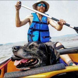 Bad Rudy a Good Dog Wenonah Fisherman Canoe