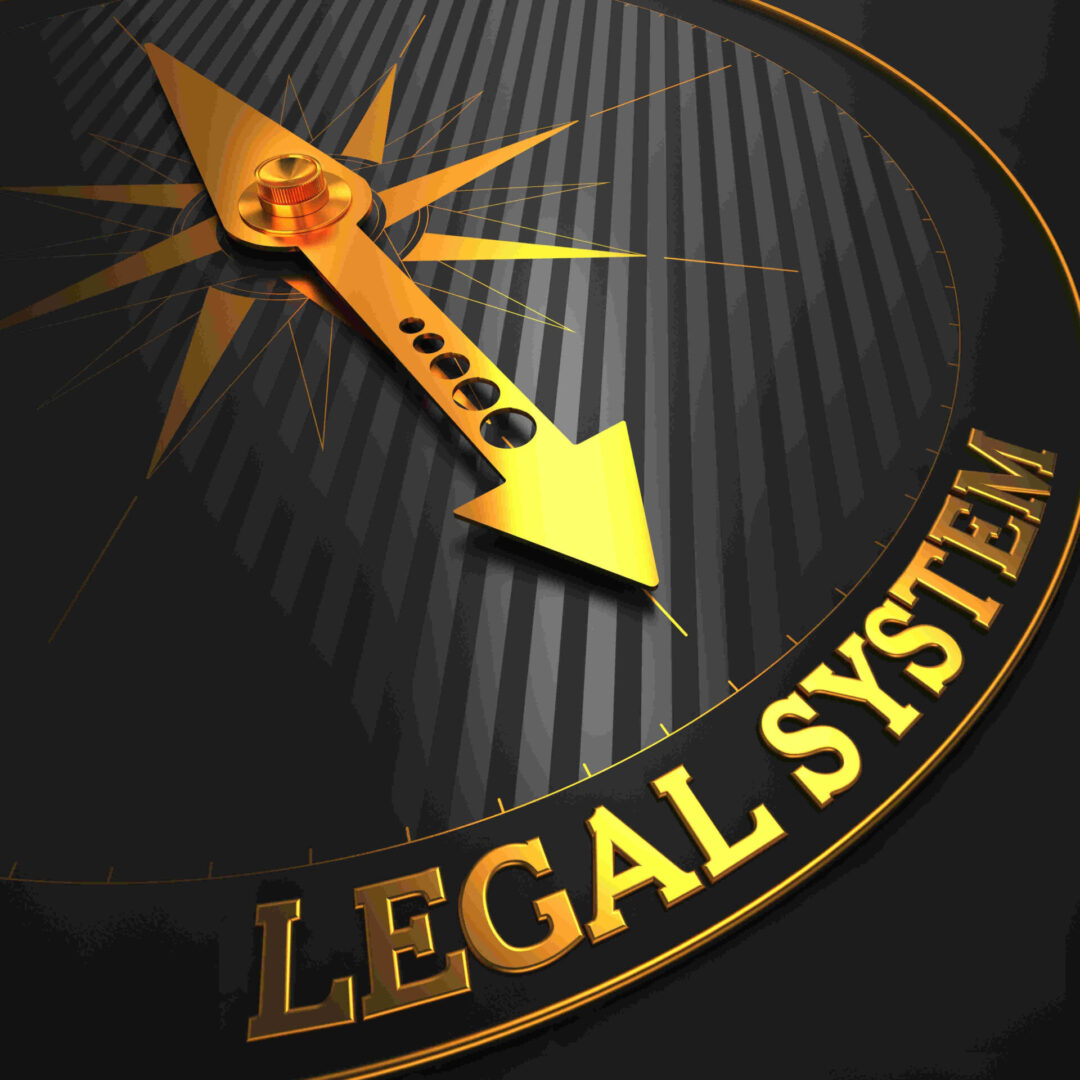 Legal,System,-,Business,Background.,Golden,Compass,Needle,On,A
