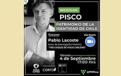 Conferencia de Pablo Lacoste dará inicio al ciclo «Pisco orgullo chileno»