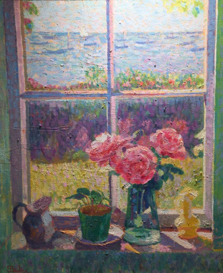 "Sam Barber, ""Still Life by Window, Hyannisport"", oil on canvas, 30.5 x 26.5 inches"