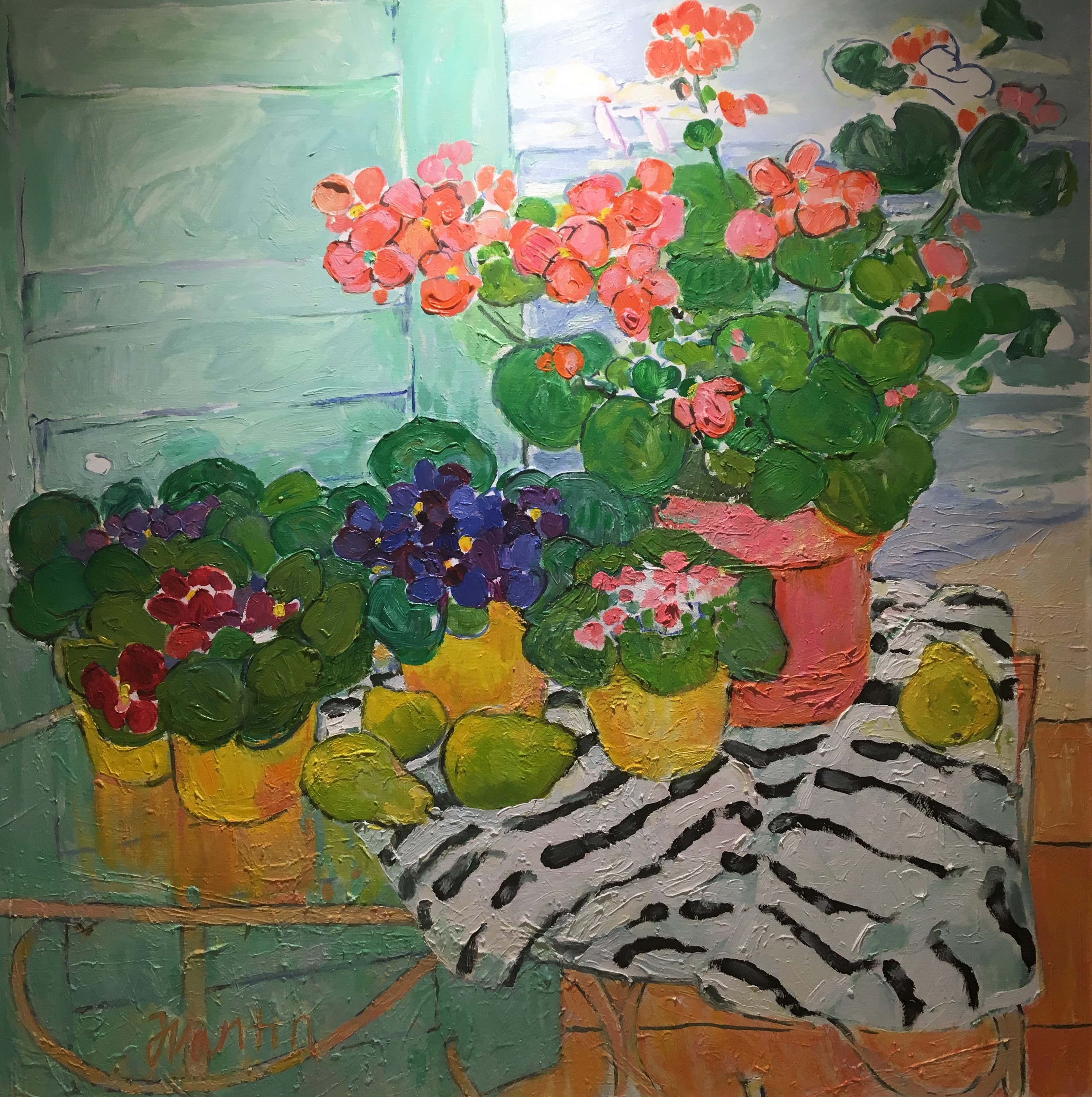 STILL LIFE WITH PANSIES AND GERANIUMS