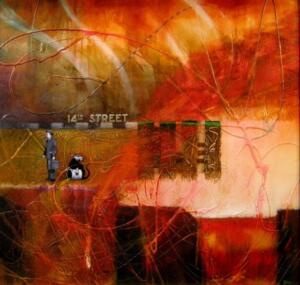 14TH STREET  |  23.5 x 25.5  |  Oil and resin on panel  |  25 x 27 Framed  |  $2000
