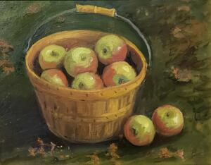 A BASKET OF APPLES  |  8 x 10  |  Oil on board  |  14 x 16 Framed  |  $700