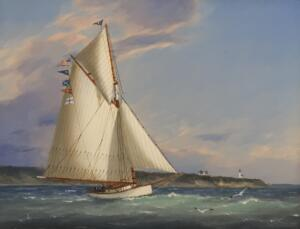 DAY SAIL OFF CAPE POPE LIGHT  |  Oil on Panel  |  13.5 x 11.75 |  $5200 Framed