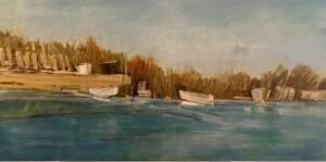 BEACH GRASSES AND BOATS  |  Oil on canvas  |  24 x 48  |  $3600
