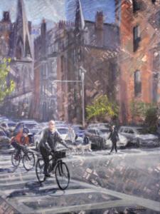 BIKING BOSTON  | Oil on canvas  | 40 x 30  |  $1800