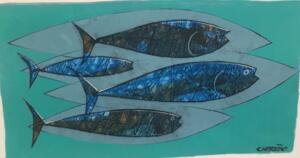 BLUE MINNOWS  |  Acrylic on foam board  |  10 x 16  |  13 x 19 Framed  |  $165