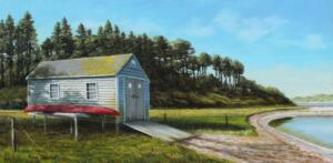 BOAT HOUSE |  Oil on board |  12 x 24 |  18 x 30 Framed |  $1550