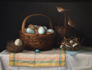 EGGS, NESTS AND WRENS   |  18 x 24  |  Oil on Linen  | $5400