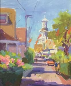 CAPE COD STROLL  |  Oil on masonite  |  10 x 8  |  16 x 14 Framed  |  $750