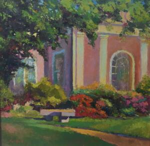 COTUIT LIBRARY  |  Oil on board  |  18 x 18 |  23 x 23 Framed  |  $1400