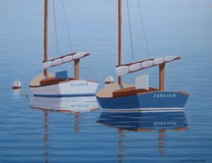 COTUIT SKIFFS  |  Oil on panel  |  11 x 14  |  17 x 20 Framed  |  $1450