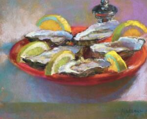 CURLY OYSTERS  | Pastel on paper  | 8 x 10  | 15.5 x 17.5 Framed  |  $700