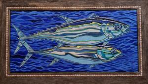 TWO TUNAS  |  Acrylic on canvas  |  18 x 38  | 25.5 x 45.25 Framed  |  $4,000