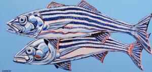 TWO STRIPERS  |  Acrylic on canvas  |  15.5 x 31.5  |  17.5 x 33.5 Framed  |  $2,250