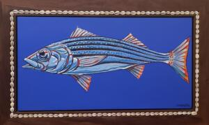STRIPER NUMBER TWO  |  Acrylic on canvas  |  14.75 x 27.5  |  20.75 x 33.75 Framed  |  $3,200