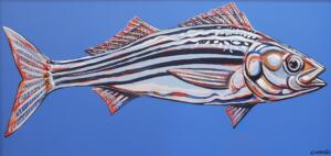 STRIPER NUMBER ONE  |  Acrylic on canvas  |  16 x 32  |  20 x 36 Framed  |  $1,800