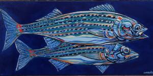 STRIPER PAIR  |  Acrylic on canvas  |  18 x 36  |  22 x 40 Framed  |  $3,500