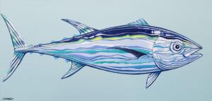 TUNA  |  Acrylic on canvas  |  18 x 38  |  39.5 x 19.75 Framed  |  $2,500
