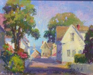 SUMMER VIEW OF THE BAY  |  Oil on board  |  16 x 20  |  20.5 x 24.5 Framed  |  $1950