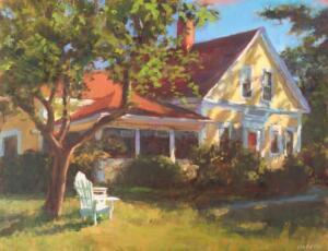 DAPPLED LIGHT MARSHALL HOUSE | Oil on linen | 16 x 20  | 17.75 x 21.75 Framed  | $2200