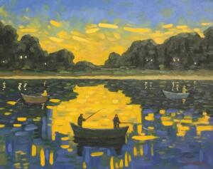 FISHING IN THE SUN   |   16 x 20   |  Oil on canvas  |  21 x 25 Framed   |  $1750