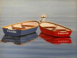 FRIENDS FOREVER  |  Oil on board  |  5 x 4  |  8.5 x 7.5 Framed  |  $375