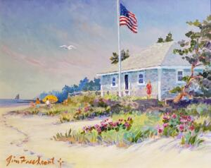BEACH HOUSE AT DOWSES  |  Acrylic on canvas  |  16 x 20  |  21 x 25 Framed  |  $1750