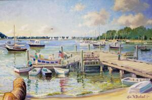 QUIET MOMENT AT COTUIT TOWN DOCK  |  Acrylic on canvas  |  24 x 36  |  30 x 42 Framed  |  $3200