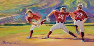 THE PITCHING SEQUENCE  |  Acrylic on canvas  |  15 x 30  |  $2200
