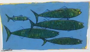 GREEN AND BLUE MINNOWS  |  Acrylic on foam board   |  8 x 20  |  14 x 26 Framed   |   $165