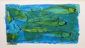 GREEN MINNOWS  |  10 x 16  |  Acrylic on foam board  |  16.5 x 22.5  Framed  |  $165