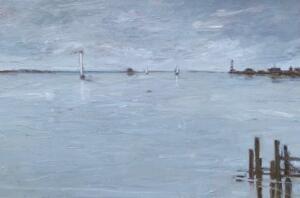 Distant Harbor  |  Oil on canvas  |  24 x 36  |  25 x 37 Framed  | $2800