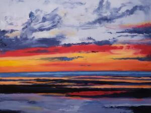SUNSET AT CAMPGROUND BEACH #1 | Oil on canvas | 36 x 48  | $2900