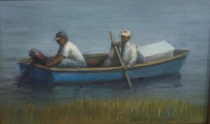GONE FISHING    Oil on board    6 x 8       10.5 x 12.5  Framed     $450