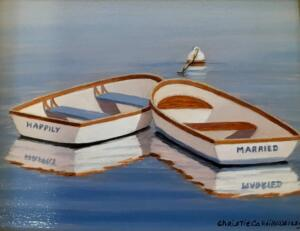 HAPPILY MARRIED  |  Oil on board  |  4 x 5  |  7.5 x 8.5 Framed  |  $375