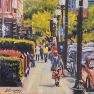 HEADING TO THE PARK |  Oil on canvas |  12 x 12 |  Framed 13.75 x 13.75  |  $600