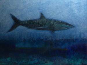 MAKO #5  |  9 x 11  Framed  |  Mako shark ash, encaustic & oil on panel  |  $600