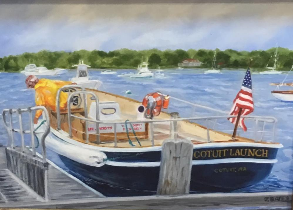 COTUIT LAUNCH AT THE TOWN DOCK  |  Oil on board  |  12 x 16  |  16 x 20 Framed  |  $850