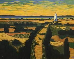 LIGHTHOUSE AT SUNRISE   |  24 X 30   |  Oil on canvas  |  26.5 x 32.5   |  $2900