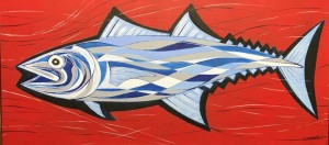 MACKEREL  |  13.5 x 30  |  Acrylic on canvas  |  15.5 x 32  Framed  |  $850