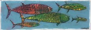 MINNOWS  |  Acrylic on foam board  |  11 x 18  |  16 x 23 Framed  |  $165