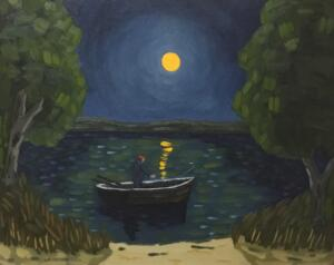 MOONLIT FISHING  |   16 x 20   |  Oil on canvas  |   21 x 25 Framed   |   $1750
