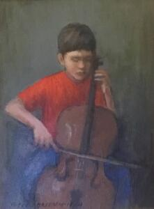 BOY PLAYING CELLO     Oil on board     7 x 5     11.5 x 9.5 Framed     $400